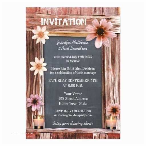 Post Wedding Party Invitations Chalkboard Floral Post Wedding Party Invitation