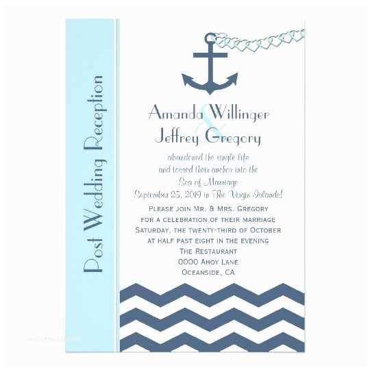 Post Wedding Reception Invitations Post Wedding Reception Invitation Nautical