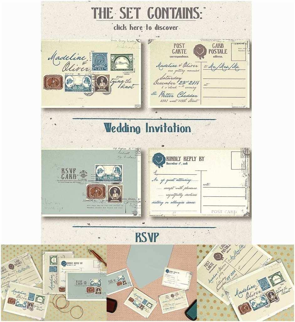 Postage Stamps for Wedding Invitations Vintage Stamps Wedding Iinvitation Set