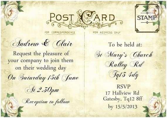 Postcard Wedding Invitations 12 Best Images About Postcard Invite On