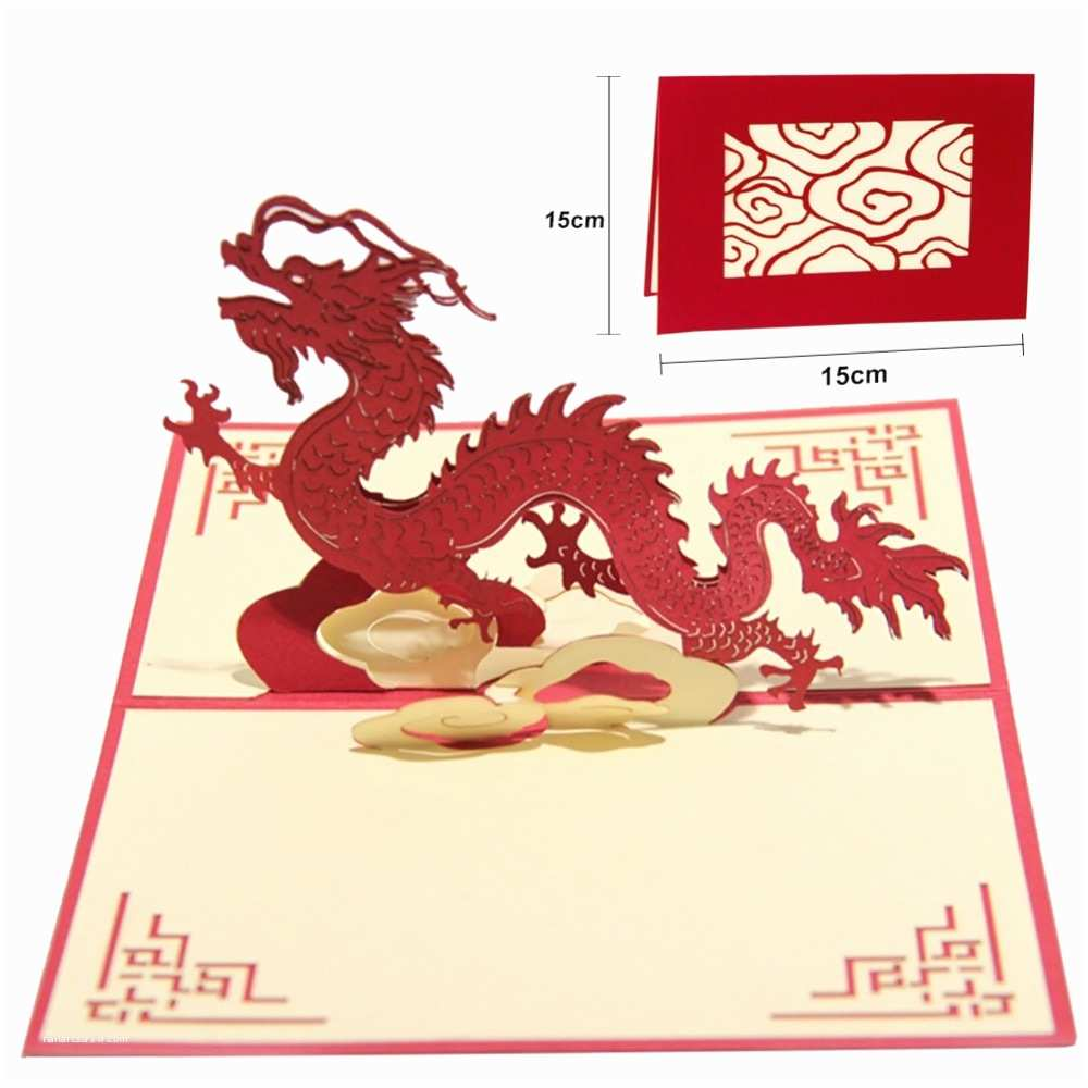Postcard Wedding Invitations 3d Chinese Dragon Birthday Greeting Cards Pop Up Paper