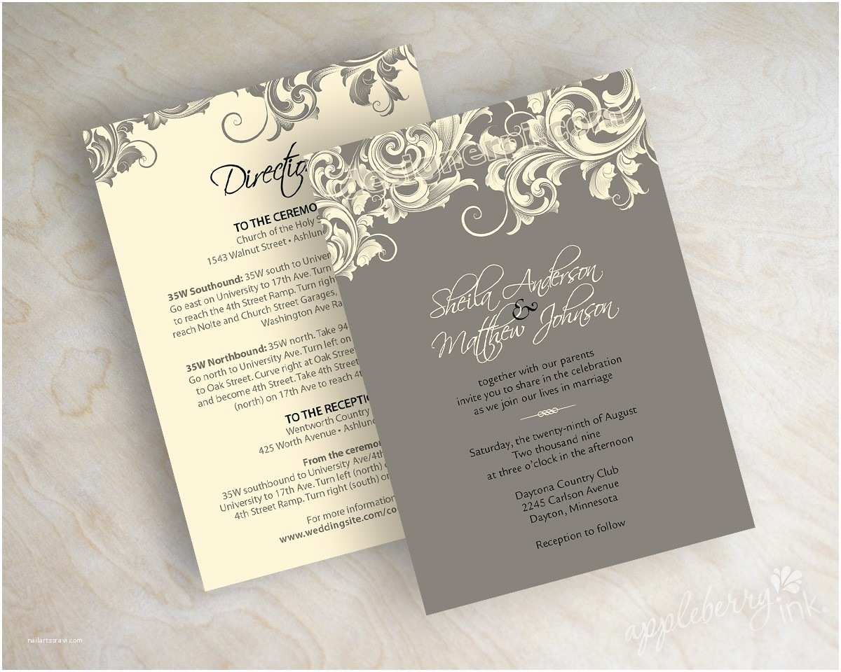Postcard Wedding Invitations Casual Wedding Invitation Card with White and Gray Color