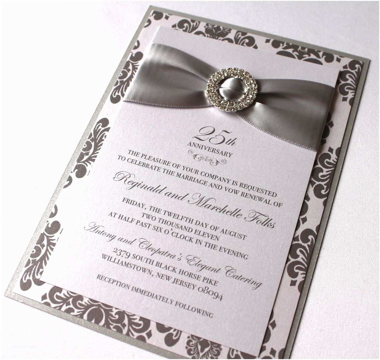 creative black themed with 25th wedding anniversary invitation card