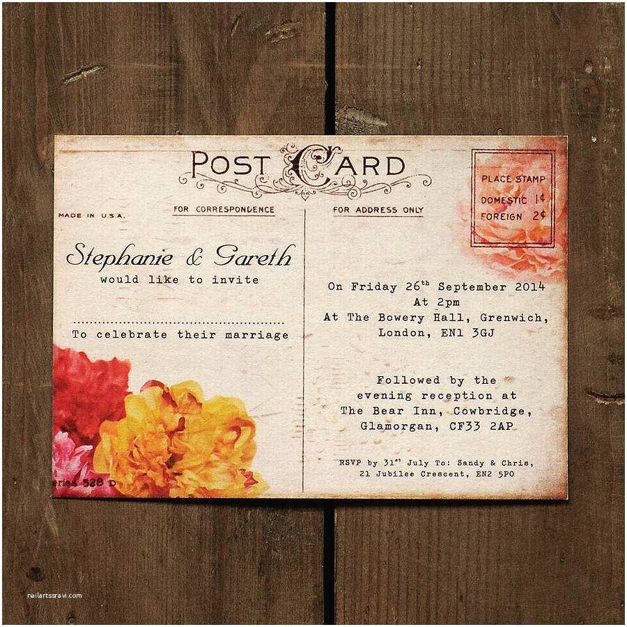 Postcard Wedding Invitations Floral Vintage Postcard Wedding Invitation By Feel