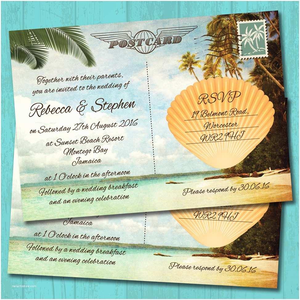 Postcard Wedding Invitations Palm Tree Beach Postcard Wedding Invitation Elisa By