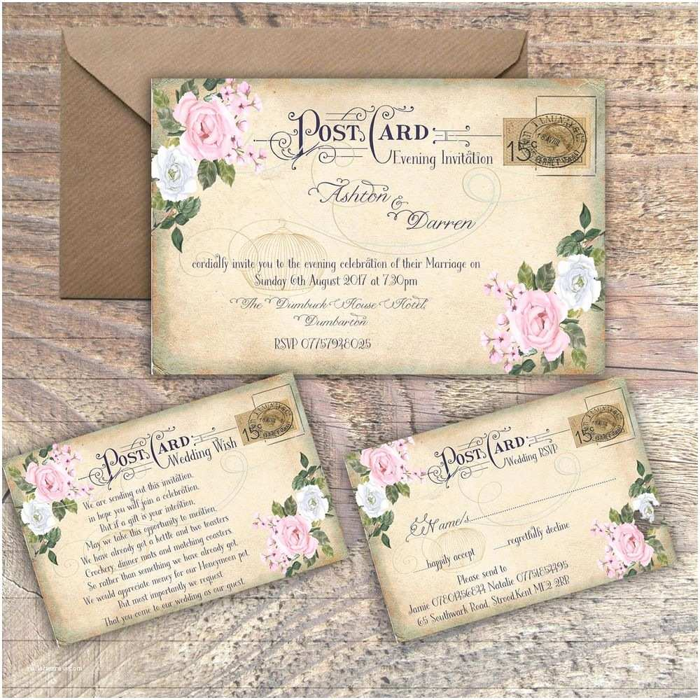 Postcard  Invitations Personalised Vintage Postcard Pink & Grey Floral