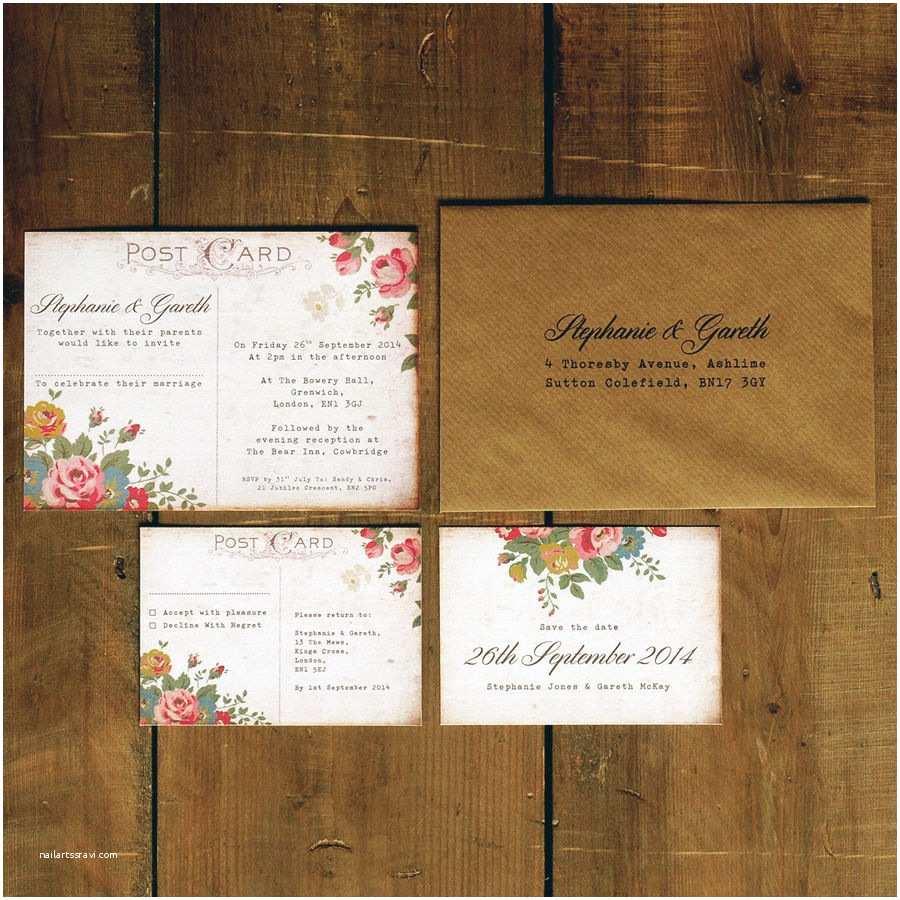 Postcard Wedding Invitations Shabby Chic Floral Illustration Postcard Wedding