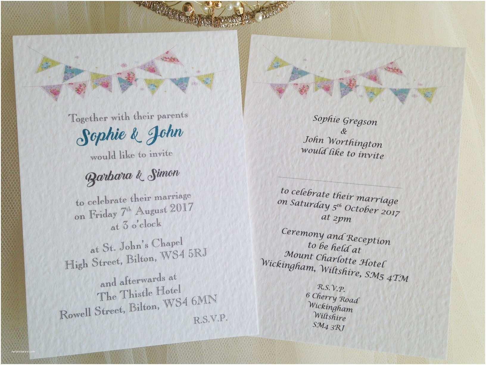Postcard Wedding Invitations Summer Bunting Postcard Wedding Invitations