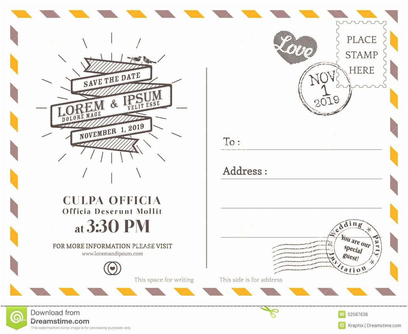 Postcard Wedding Invitations Template Vintage Postcard Background Template for Wedding
