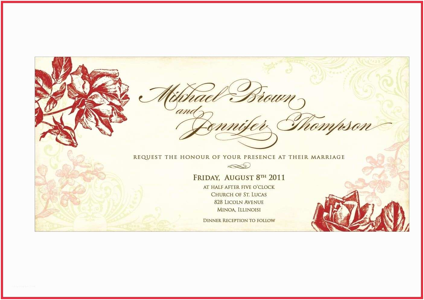 Postcard Wedding Invitations Template Wedding Invitation Card Template