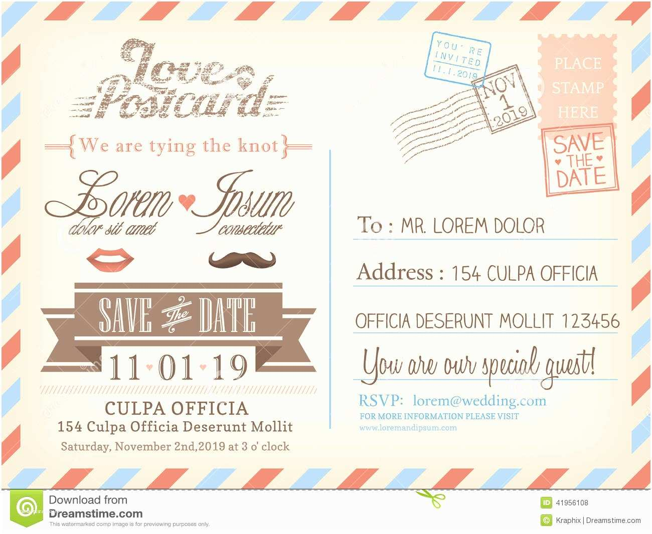 Postcard  Invitations Vintage Airmail Postcard Background Template For