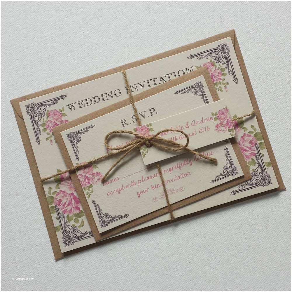 Postcard Wedding Invitations Vintage Postcard Style Wedding Invitations & Rsvp Pink