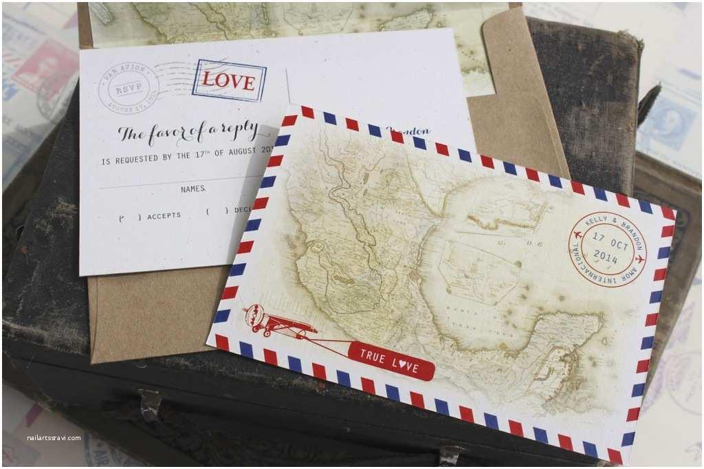 Postcard Wedding Invitations Vintage Travel Postcard Wedding Invitation Air