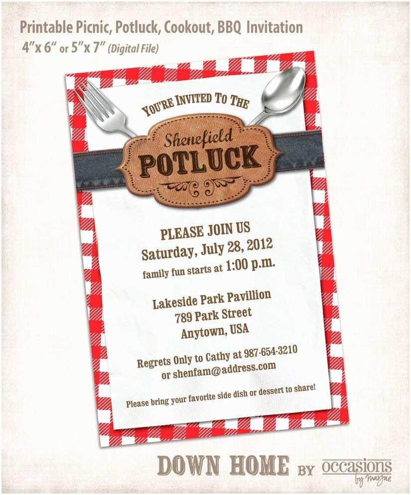 Potluck Party Invitation Printable Picnic Potluck Cookout Bbq Invitation