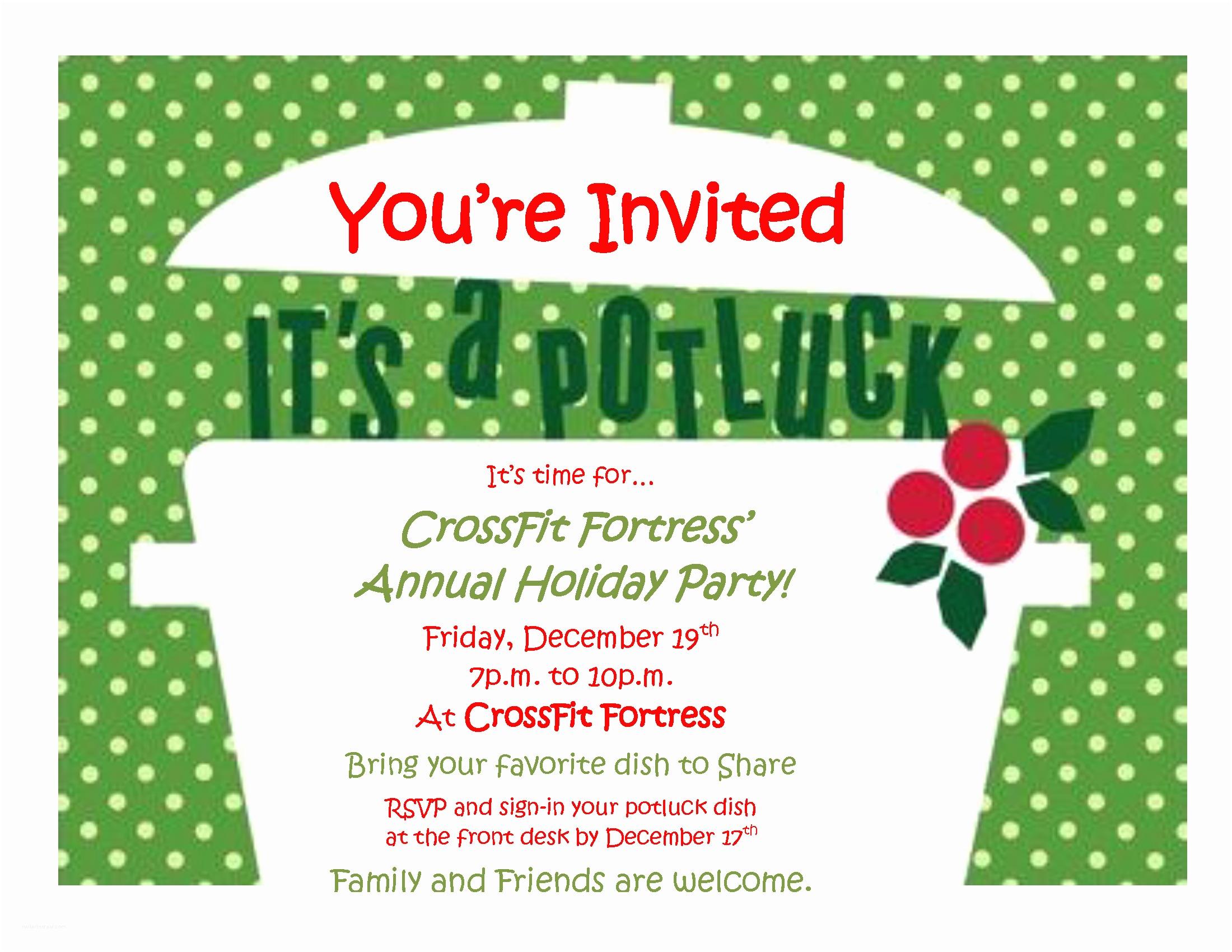 Potluck Party Invitation Wonderful Christmas Potluck Invitation Email