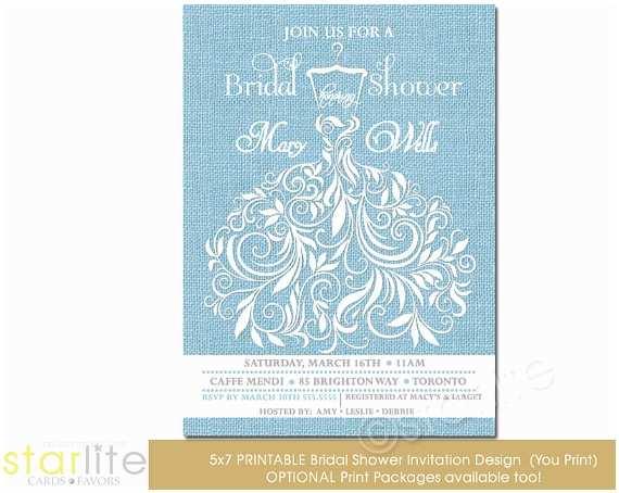 Powder Blue Wedding Invitations Bridal Shower Invitation Sky Powder Blue Wedding Gown
