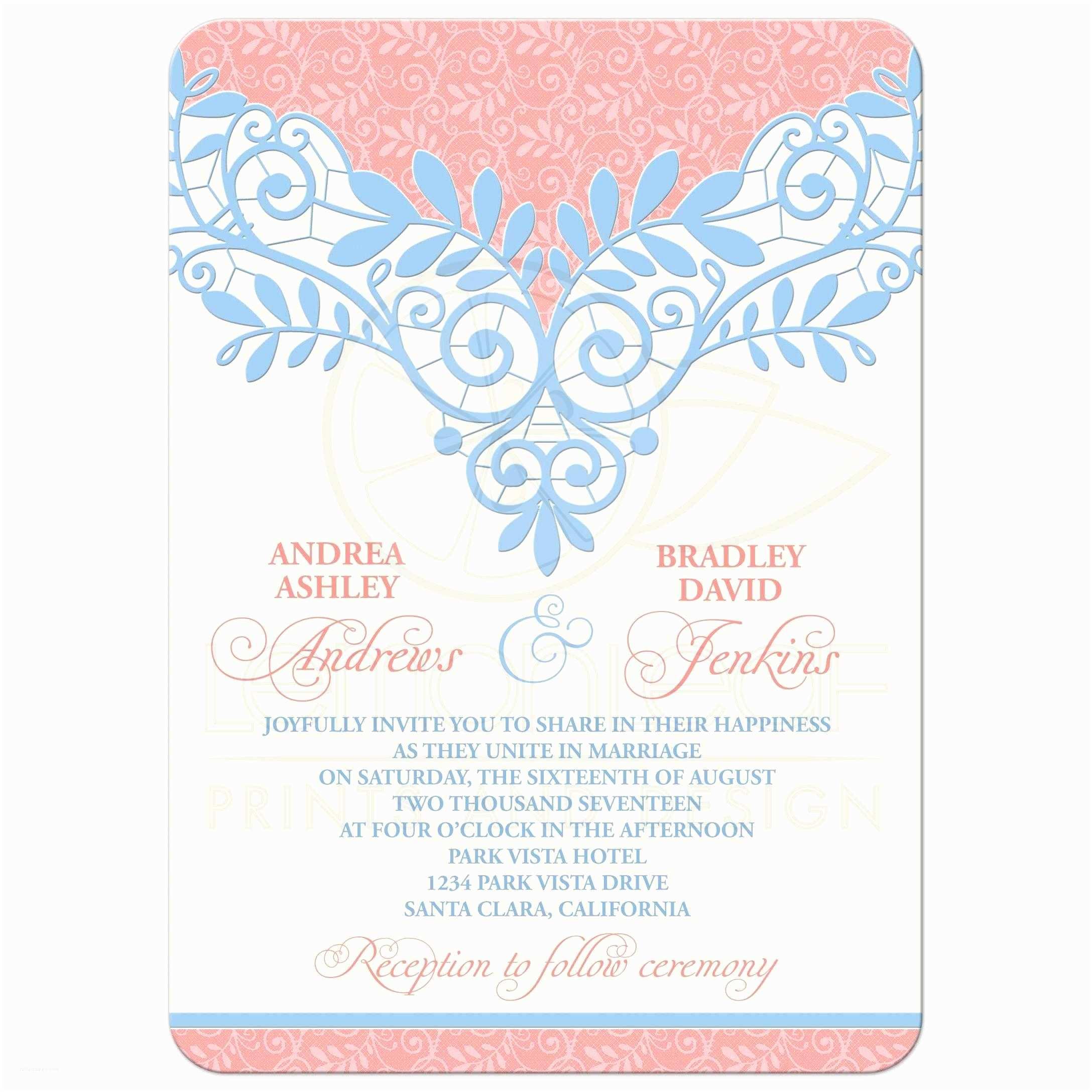 Powder Blue Wedding Invitations Coral Powder Blue Lace Wedding Invitation