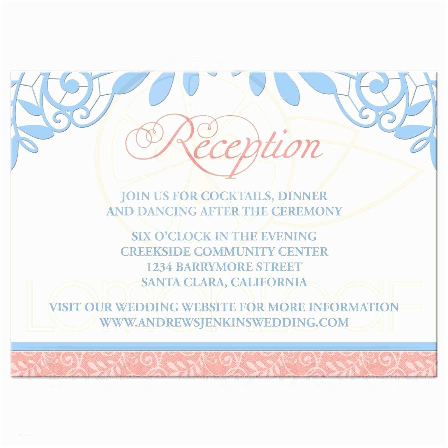 Powder Blue Wedding Invitations Coral Powder Blue Lace Wedding Reception Card
