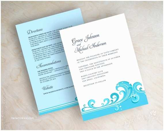 Powder Blue Wedding Invitations Destination Wedding Invitations Beach Wedding Invitations