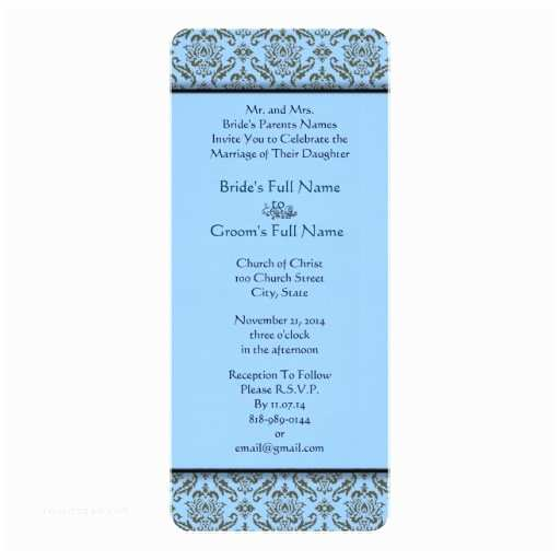 Powder Blue Wedding Invitations Grey Damask Powder Blue Wedding Invitation