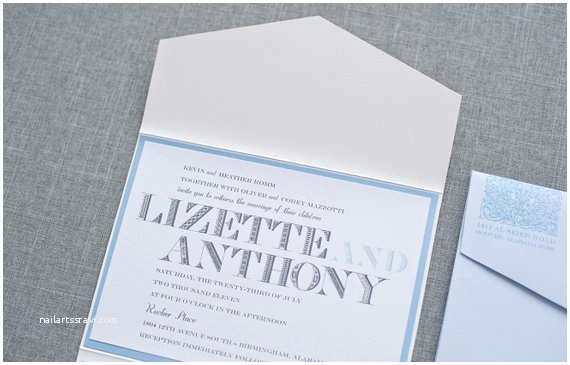 Powder Blue Wedding Invitations Light Blue Pocket Wedding Invitations Powder Blue Wedding