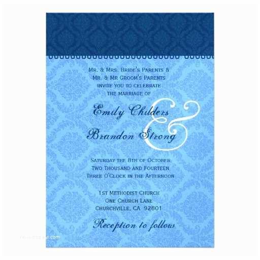 Powder Blue Wedding Invitations Navy and Powder Blue Damask Wedding Template Custom
