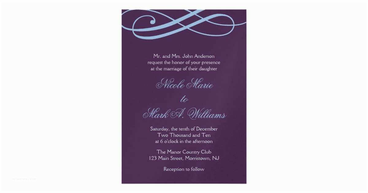 Powder Blue Wedding Invitations Plum and Powder Blue Swirls Wedding Invitations