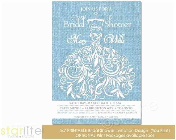 Powder Blue Wedding Invitations Powder Blue Bridal Shower Invitation Burlap Bridal by Starwedd