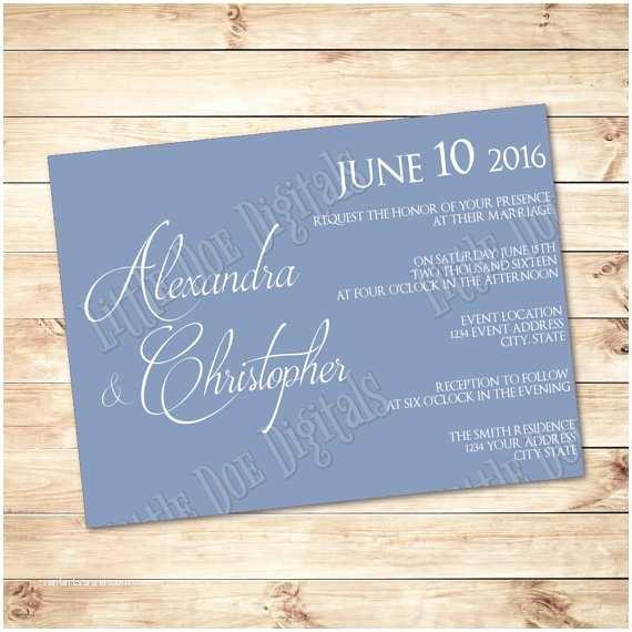 Powder Blue Wedding Invitations Powder Blue Classic & Elegant Printable Wedding Invitation