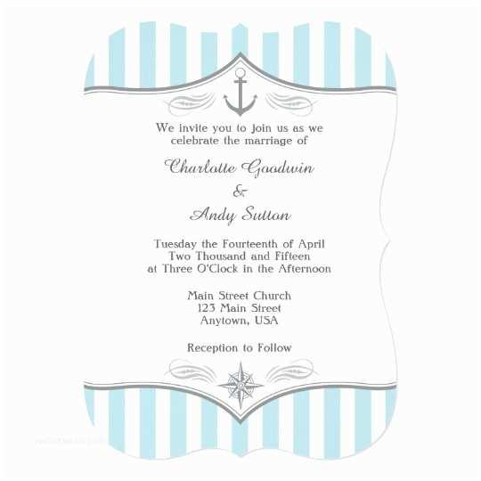 Powder Blue Wedding Invitations Powder Blue Grey Nautical Wedding Invitation
