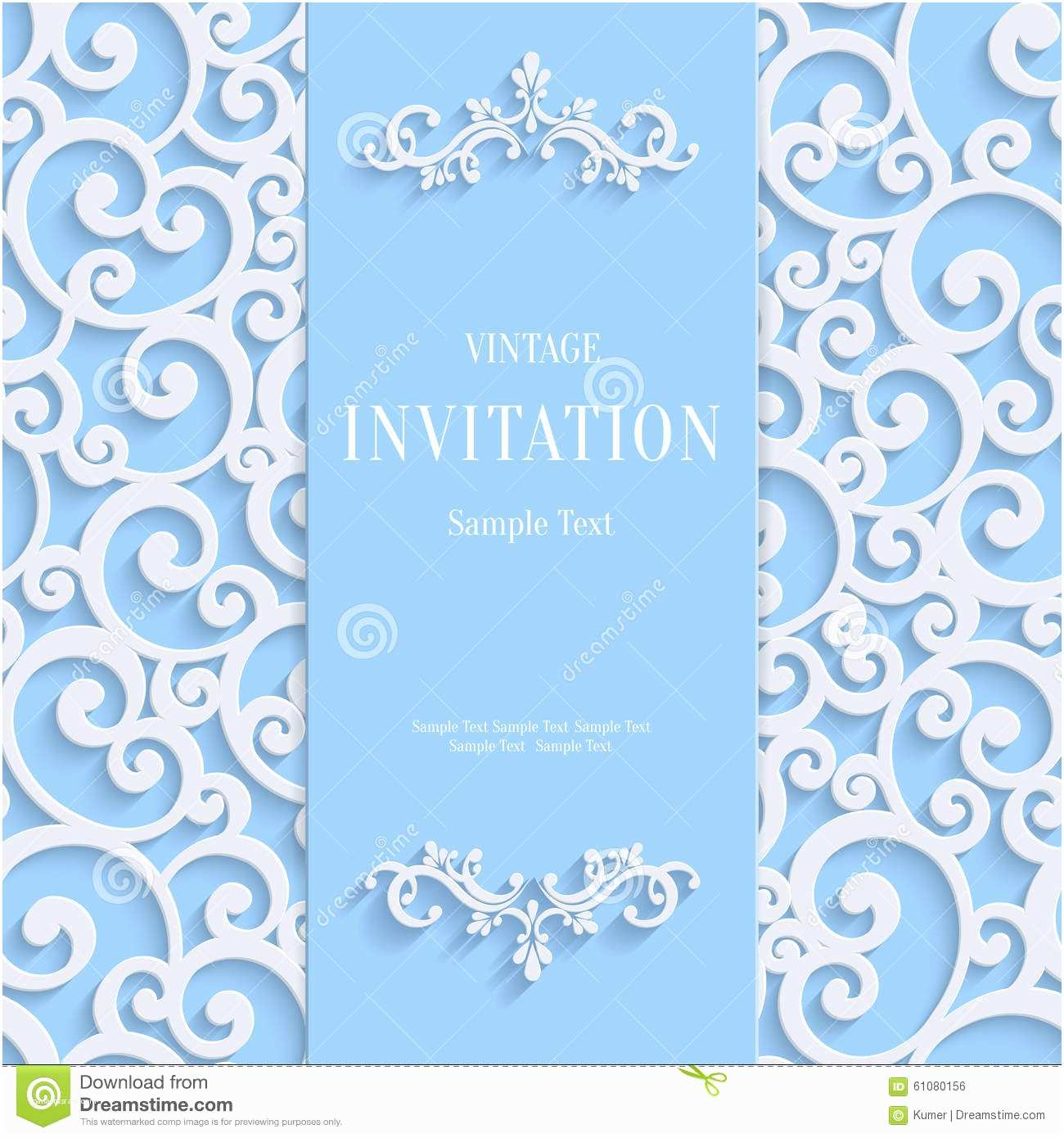 Powder Blue Wedding Invitations Vector Blue 3d Vintage Invitation Card with Swirl Damask