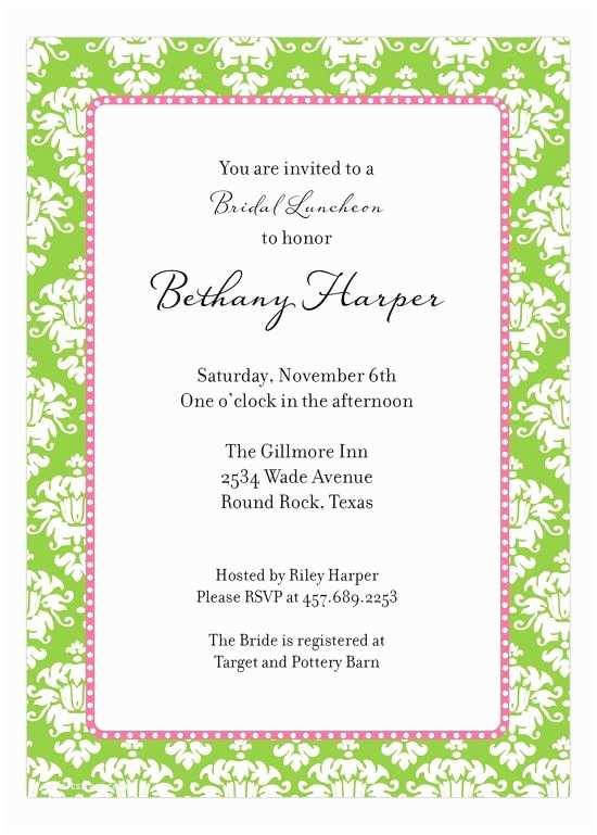 Pre Wedding Party Invitation Green Damask Invitation