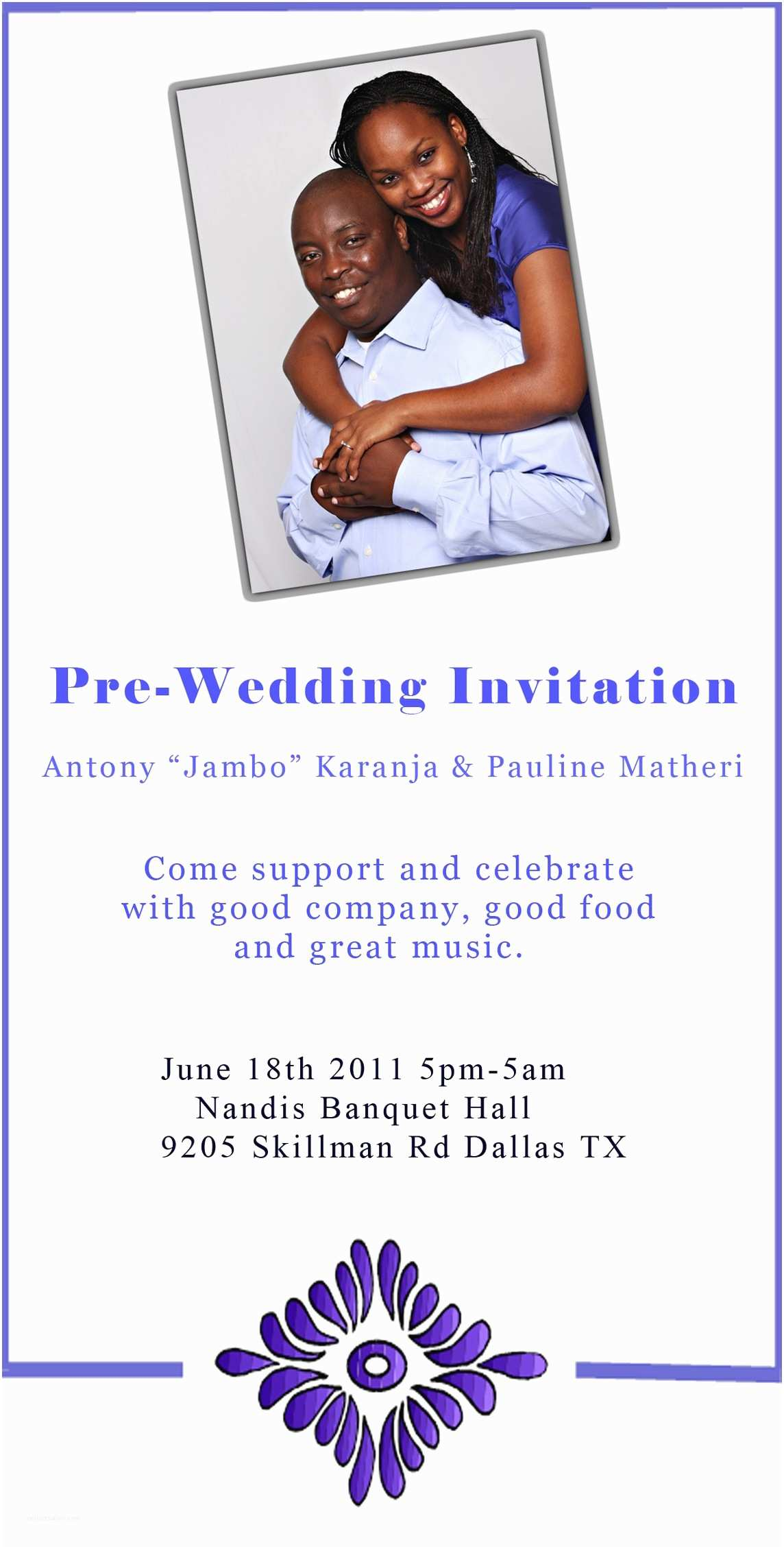 Pre Wedding Party Invitation Invitation From the Wedding Mittee Antony Jambo