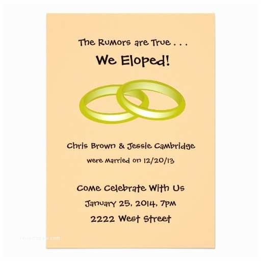 """Pre Wedding Party Invitation We Eloped Post Wedding Party Invitation 5"""" X 7"""