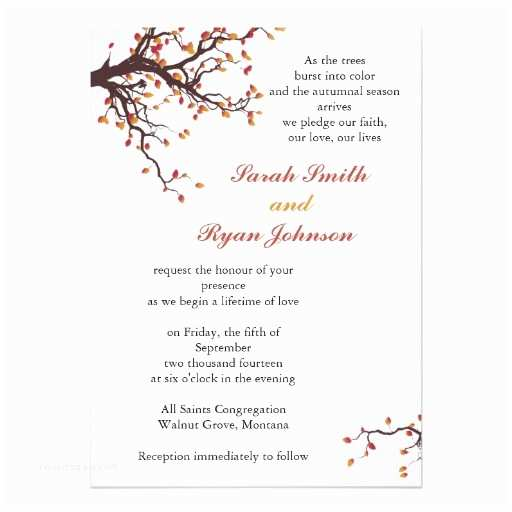 Premade Wedding Invitations Fall Wedding Invitations