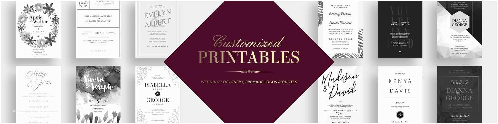 Premade Wedding Invitations Printable Wedding Invitations & Premade by