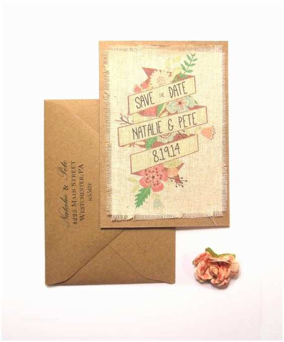 Premade Wedding Invitations Rustic Floral Pre Made Burlap Fabric Wedding Save the Date