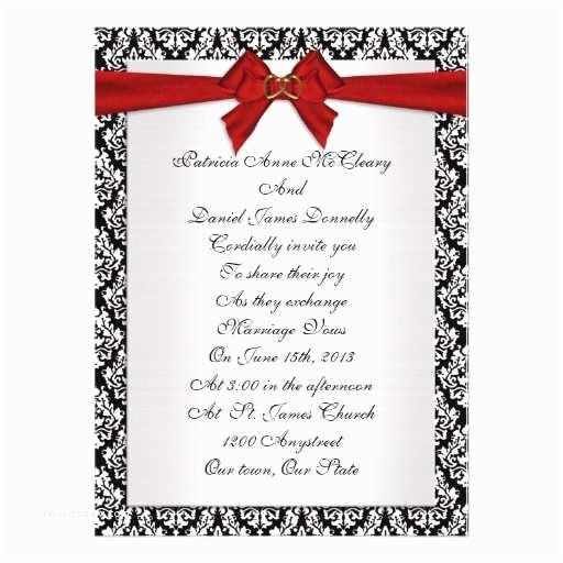 Premade Wedding Invitations Wedding Invitation Elegant Damask with Red Bow