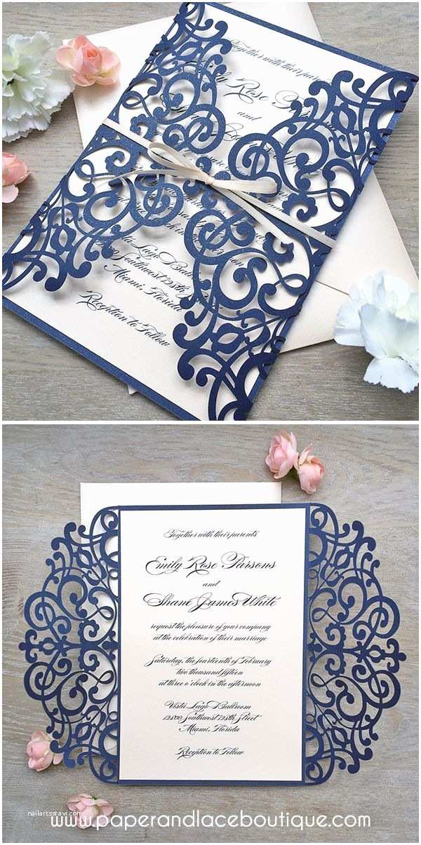 Pretty Wedding Invitations Navy and Blush Laser Cut Wedding Invitation Glittering