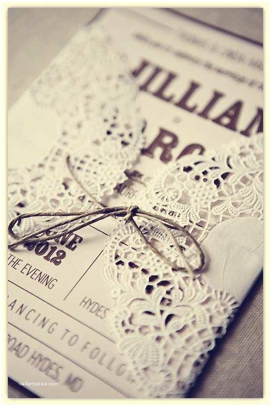 Pretty Wedding Invitations Pretty Rustic Lace Wrapped Wedding Invitation Cards