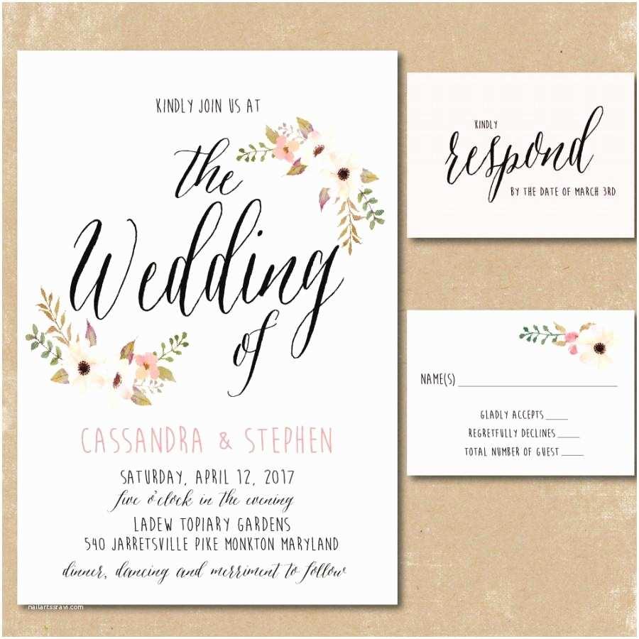 Pretty Wedding Invitations Printable Floral Invitations Watercolor Wedding