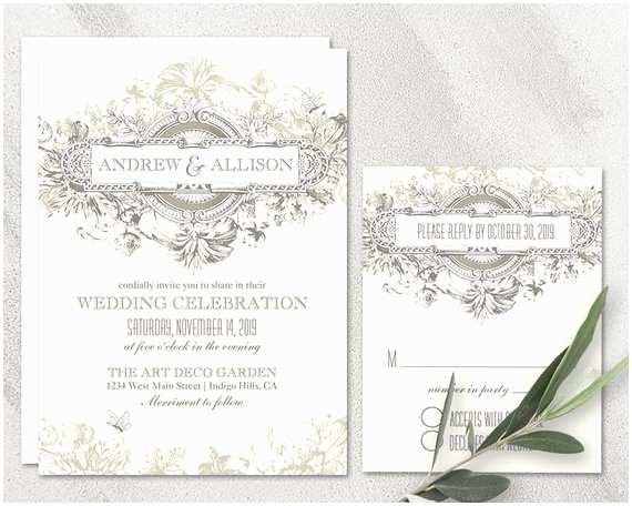 Primitive Wedding Invitations Art Deco Wedding Invitation Printable Set Vintage 20 S