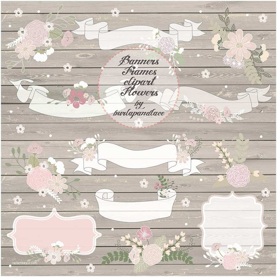 Primitive Wedding Invitations Hand Draw Rustic Flowers Clipart Frames Banners Wedding