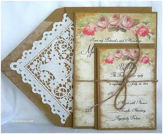 Primitive Wedding Invitations Items Similar to Wedding Invitation Kraft Vintage Pink