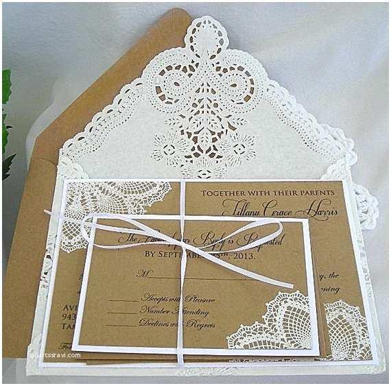 Primitive Wedding Invitations Items Similar to Wedding Invitation White Doily Lace On