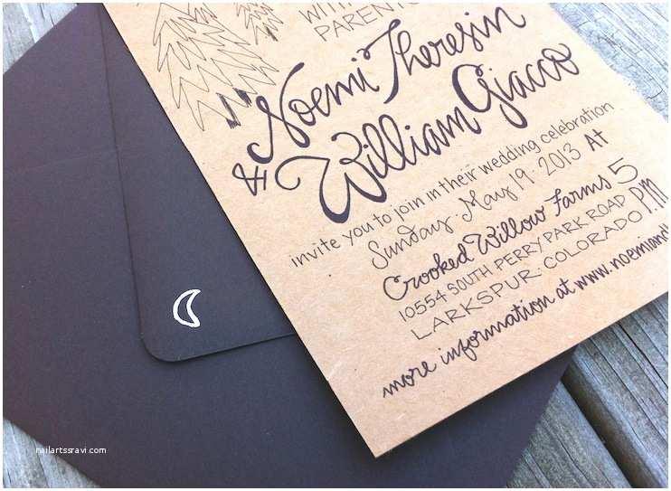 Primitive Wedding Invitations Noemi Bj S Hand Lettered Kraft Paper Wedding Invitations