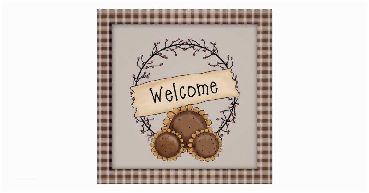Primitive Wedding Invitations Primitive Country Sunflower Wel E Wreath Poster