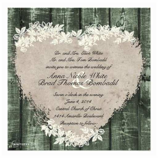 "Primitive Wedding Invitations Primitive Green Wood Heart Wedding Invitation 5 25"" Square"