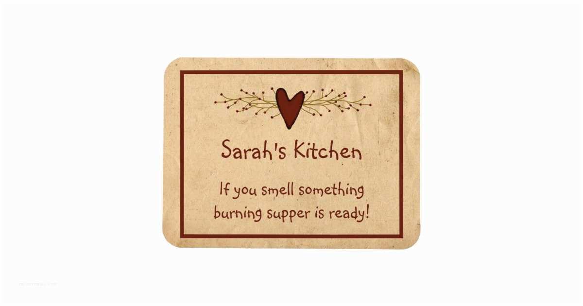 Primitive Wedding Invitations Primitive Heart Kitchen Magnet