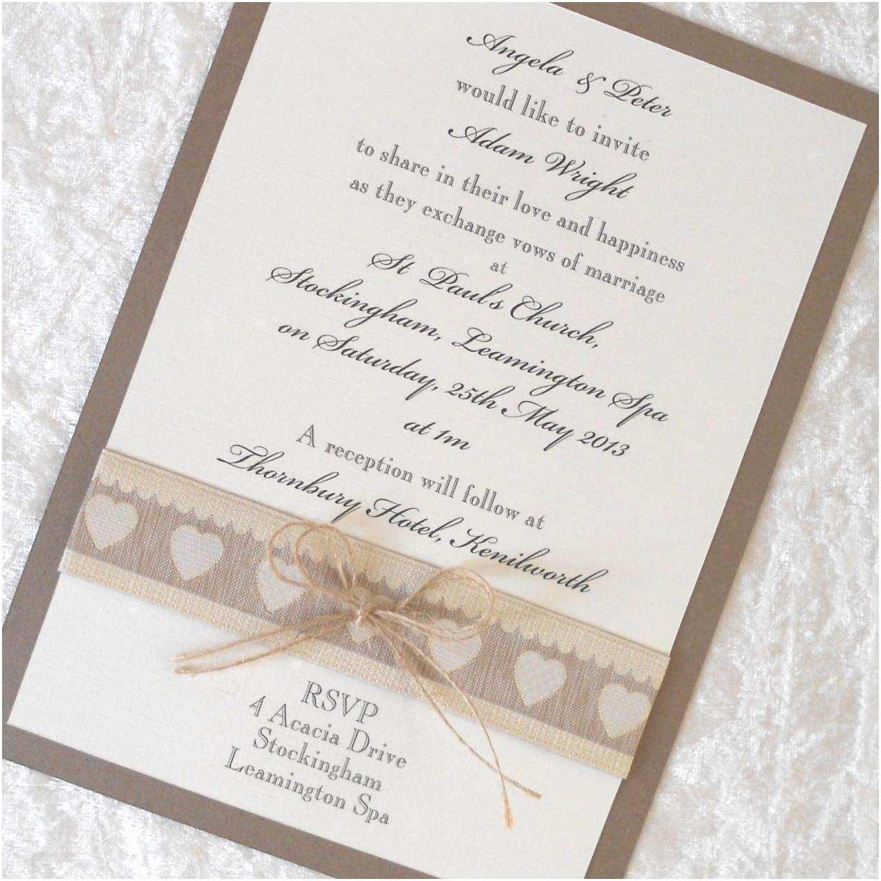 Primitive Wedding Invitations Rustic Country Chic Wedding Invitations X 5 Personalised